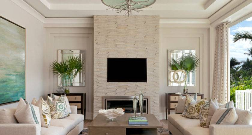 Coastal Contemporary Beach Style Living Room Miami