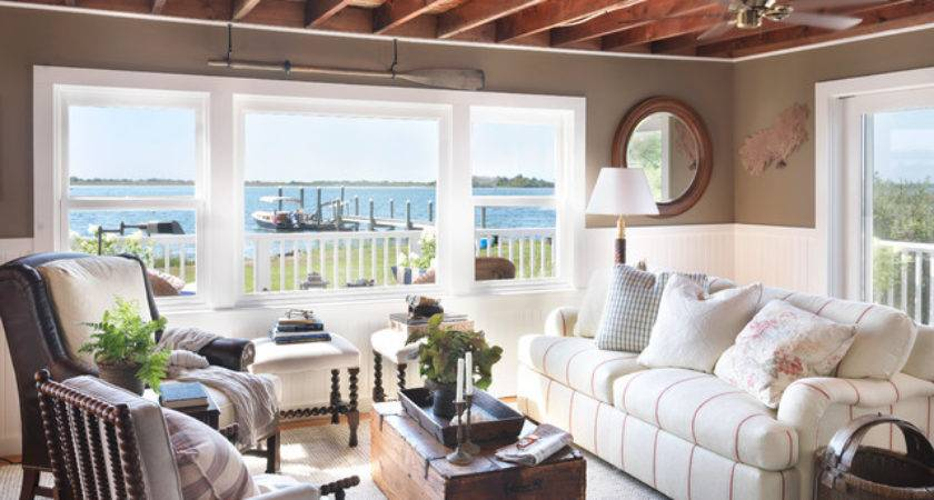 Coastal Cottage Beach Style Living Room Providence
