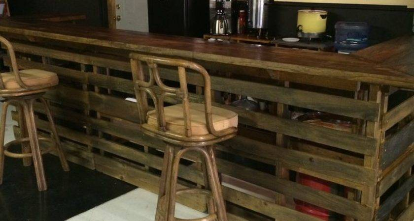 Coffee Bar Made Out Pallets Long Seats