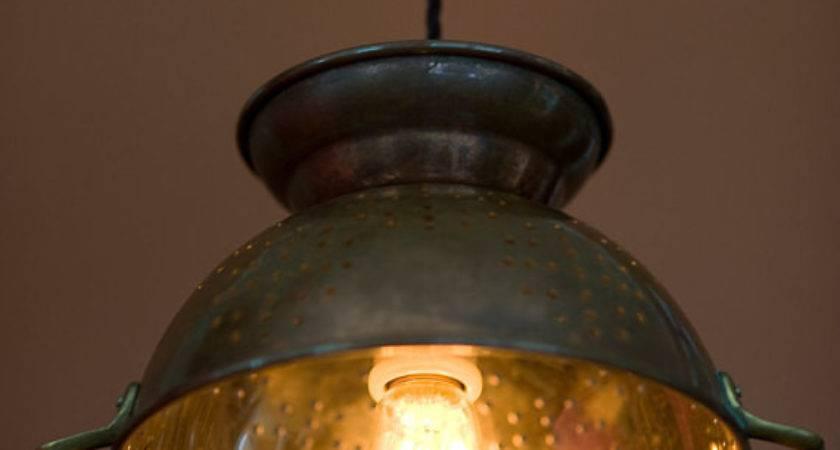 Colander Light Pendant Copper Edison Style Bulb Filafix