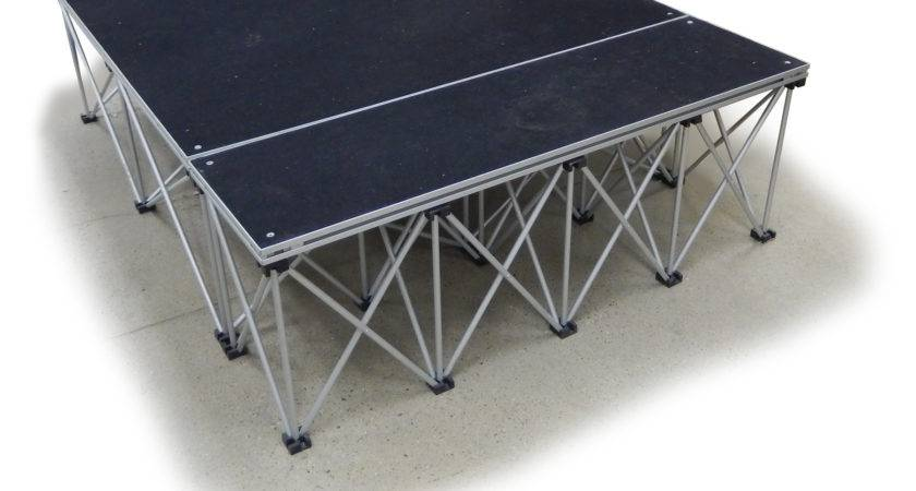 Collapsible Portable Presentation Platform Carpeted Deck