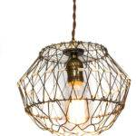 Collapsible Vintage Wire Egg Basket Pendant Light
