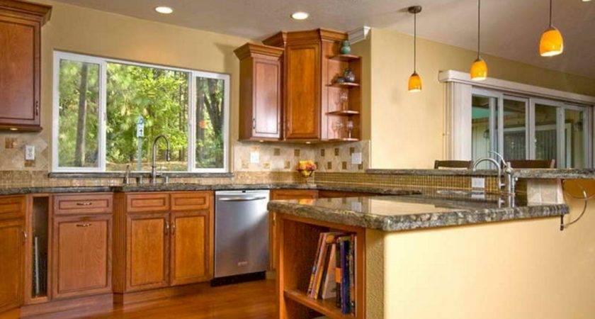 Color Ideas Kitchen Walls Wood Cabinet