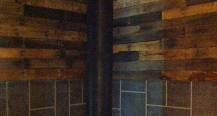 Completed Our Pallet Board Wall Above Fire Place