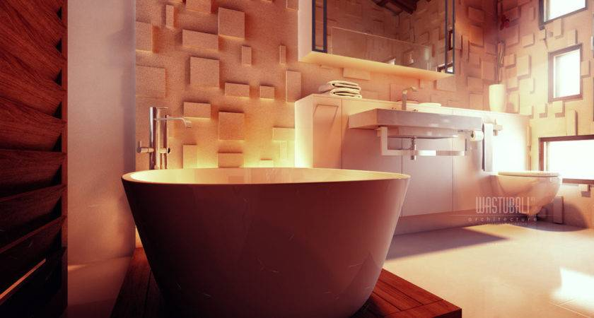 Contemporary Bathroom Textured Wall Treatment Interior