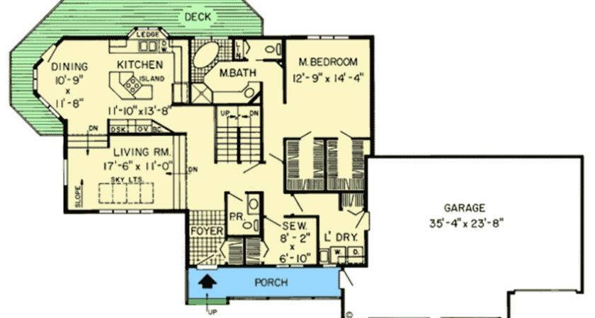 Contemporary House Plan Sunken Living Room