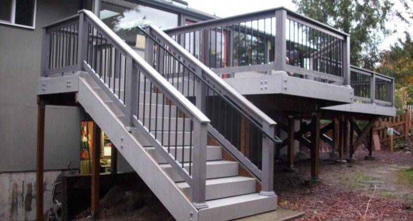 Corner Deck Stairs Design Railings Ideas