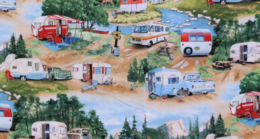 Cotton Vintage Trailers Camping Campers Fabric Print