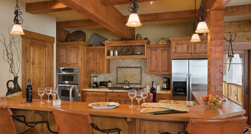 Counter Top Log Cabin Kitchen Home Design Decor
