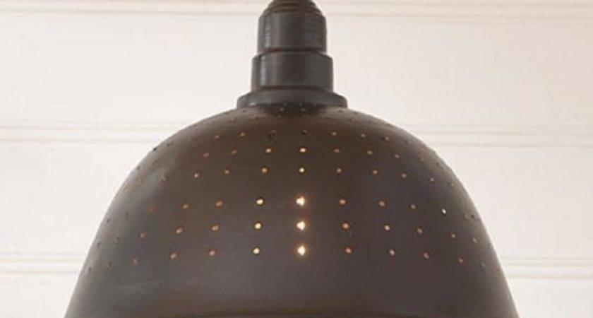Country Colander Pendant Lamp Smokey Black Finish