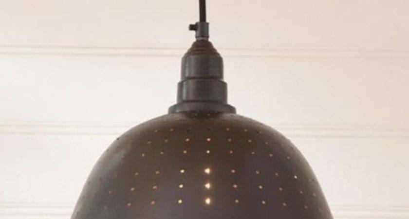 Country New Blacken Tin Colander Hanging Pendant Light