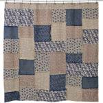 Country Primitive Millie Patchwork Fabric Shower Curtain