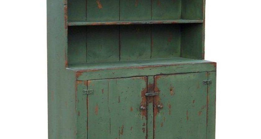 Country Primitive Painted Step Back Rustic Cabinet Hutch