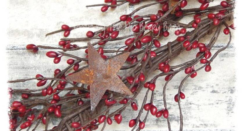 Country Red Berry Garland Rusty Stars Primitive