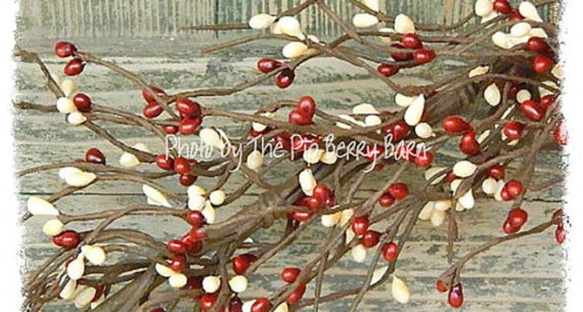 Country Red Cream Pip Berry Garland Primitive