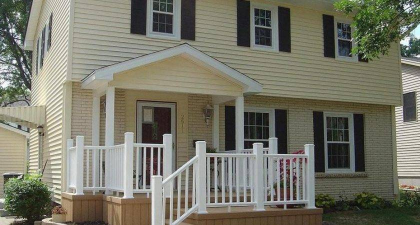 Covered Front Porch Entrance Extended Deck