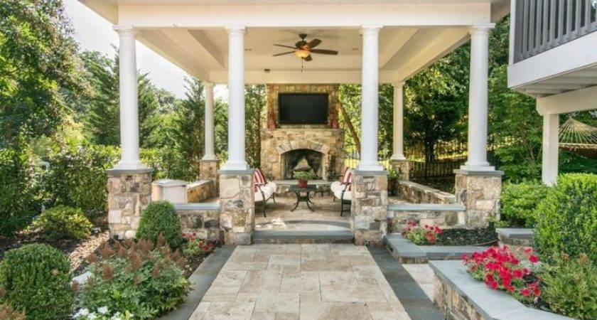 Covered Patio Pillars Fireplace Seating