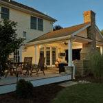 Covered Porch Stone Hearth Fireplace Attached