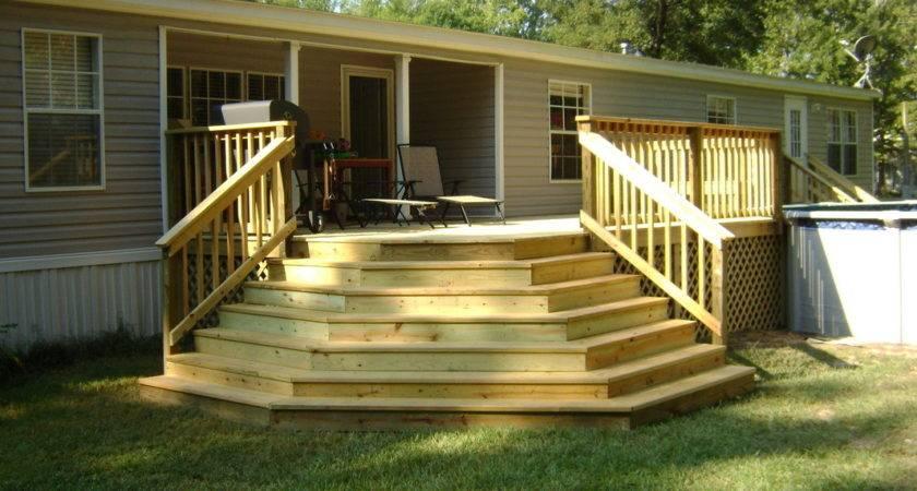 Covered Wood Deck Mobile Home Joy Studio Design