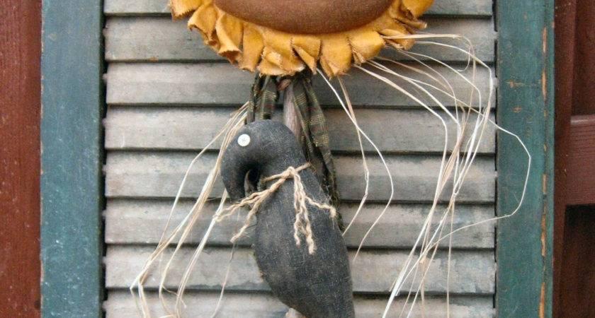 Crow Flower Epattern Primitive Country Sunflower Cloth Craft