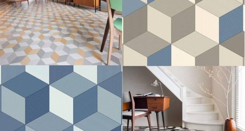 Cushioned Vinyl Flooring Sheet Cube Geometric Design