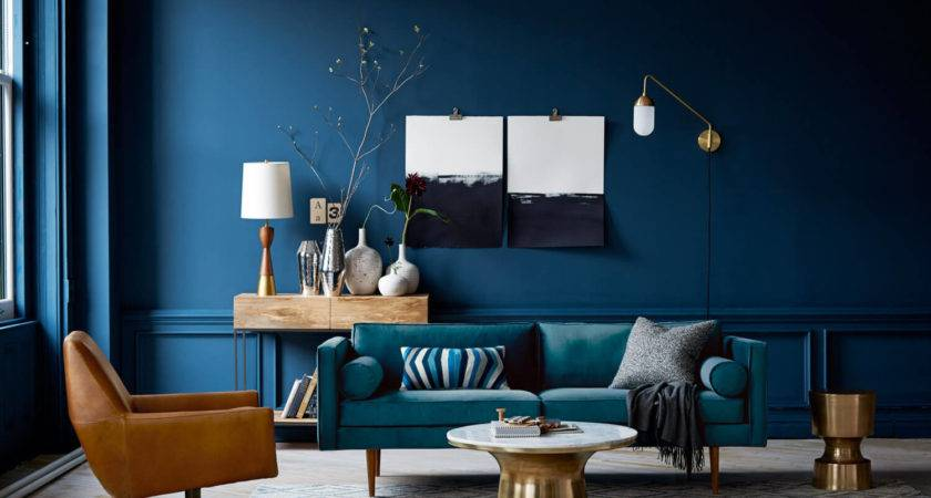 Dark Blue Walls Living Room Peenmedia