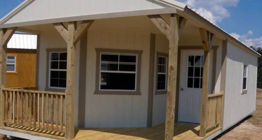 Derksen Portable Painted Deluxe Cabin Porch Visit