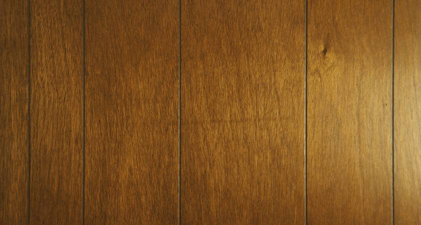 Detail Wall Featuring Faux Wood Panel Cherry Stain Finish