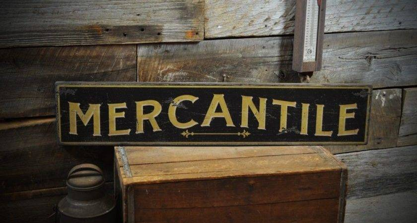 Distressed Mercantile Primitive Sign Rustic Hand Made