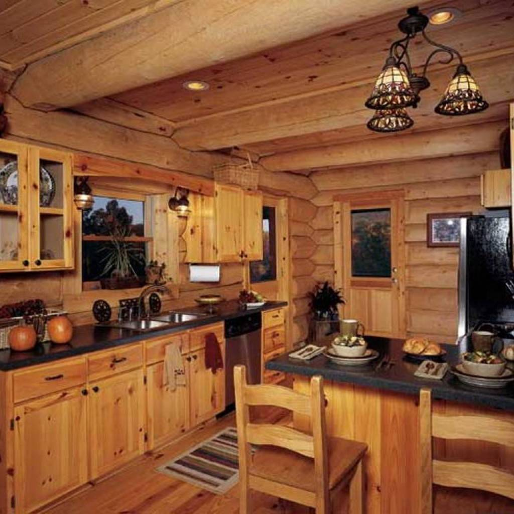Distressed White Cabinets Rustic Log Cabin Kitchen - Get ...