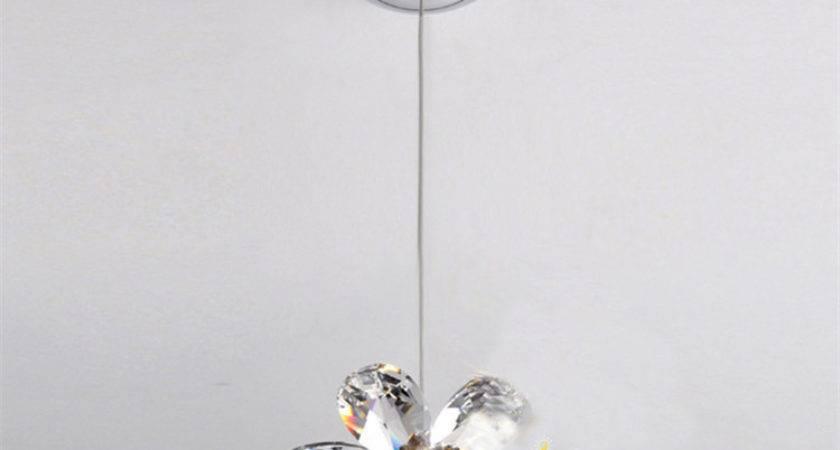 Diy Mini Modern Flower Crystal Pendant Lights Hanging Lamp