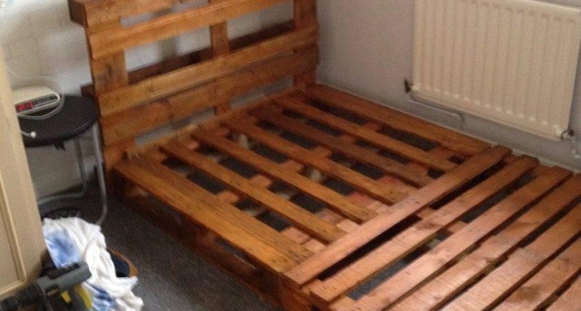 Diy Pallet Bedframe Instructions Gomy Bedding