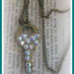 Diy Rhinestone Vintage Key Pendant Necklace