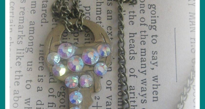 Diy Rhinestone Vintage Key Pendant Necklace
