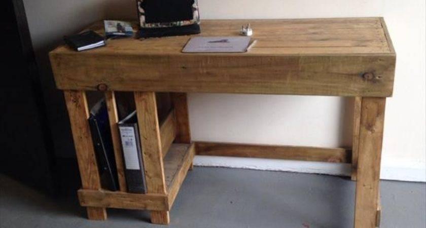 Diy Wood Pallet Office Computer Desk Furniture Plans