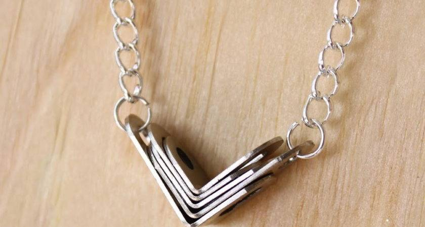 Dollar Store Metal Chevron Necklace Allfreejewelrymaking