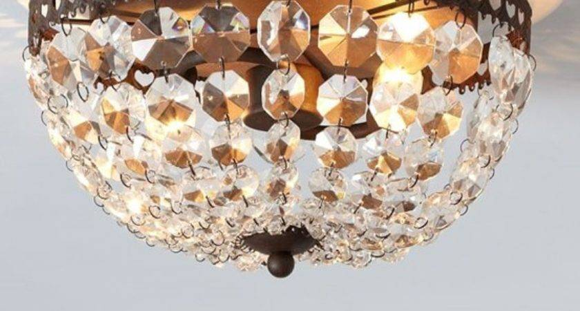 Dome Ceiling Light Makeover Crystals