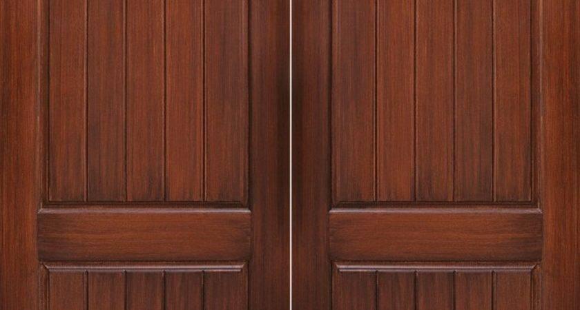 Double Panel Wide Groove Mahogany Door