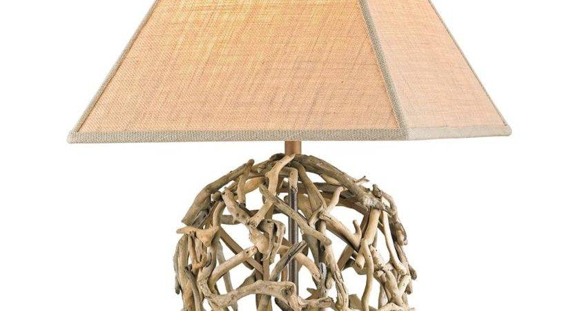 Driftwood Sphere Rustic Beach Style Modern Table Lamp