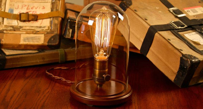 Edison Glass Bell Jar Lamp Desk Table