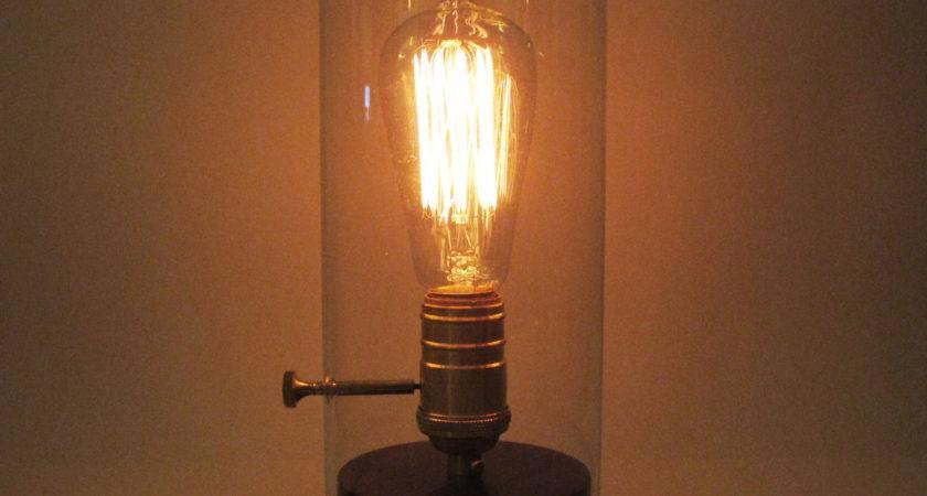 Edison Glass Desk Wood Lamp Bulb