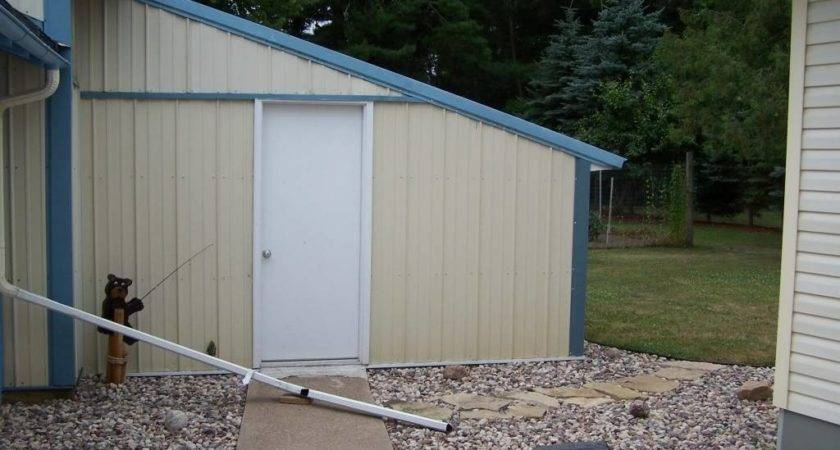 Enclosed Lean Attached Garage Pole Shed