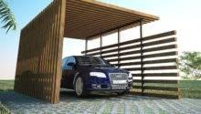 Exterior Back Nature Wood Car Ports Modern