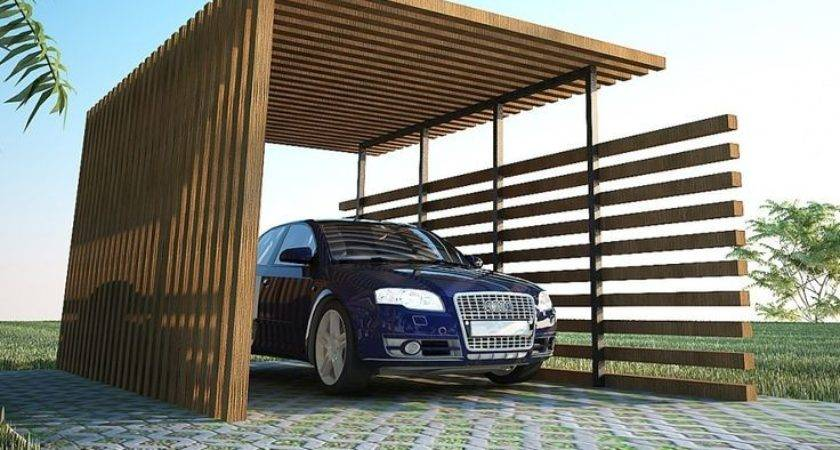 Exterior Back Nature Wood Car Ports Modern