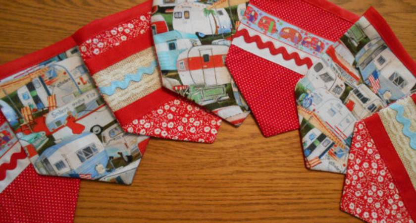 Fabric Pennant Bunting Banner Vintage Trailer Print