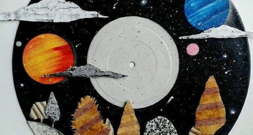 Fantasy Galaxy Landscape Art Recycled Vinyl