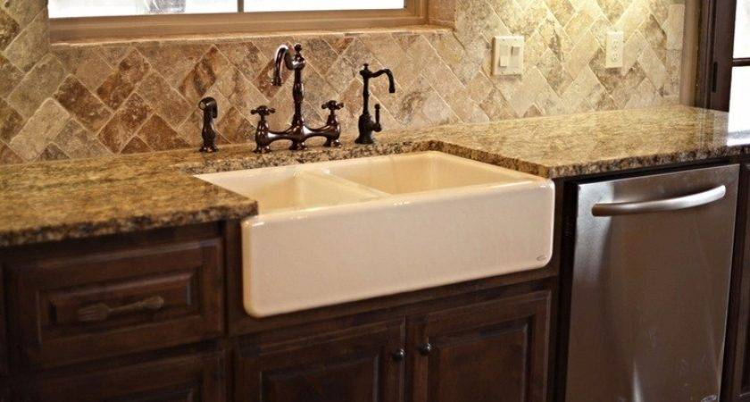 Farmhouse Sink Kitchen Bronze Danze Travertine Backsplash