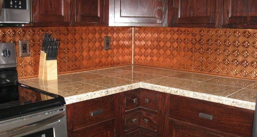 Faux Tin Kitchen Backsplash Roll Antque Copper