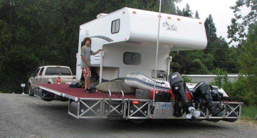 Floating Dock Converted Into Camper Barge