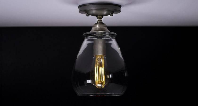 Flush Ceiling Mount Edison Light Fixture Brushed